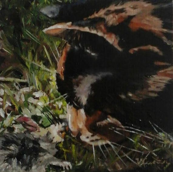 Post Mortem  Year of the Cat  original oil painting by MyCoveArt