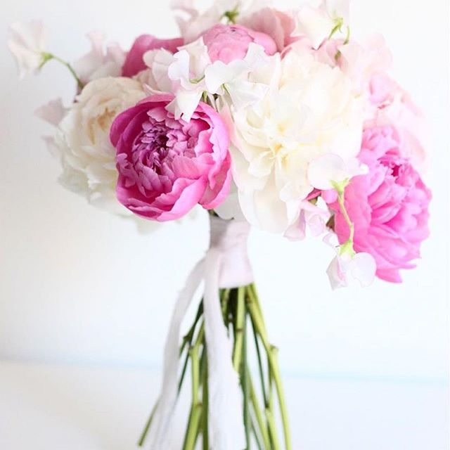 Peonies and hand-dyed silk ribbon to start the day! Thanks @flowr_floral for the beautiful pic! /  Peonias y lazo de seda teñido a mano para empezar el día! Gracias @flowr_floral por la preciosa foto! #sieribbons