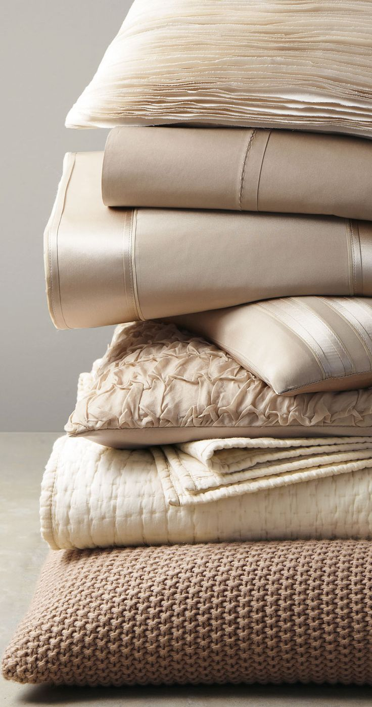 Donna Karan Home Essentials in Taupe, Ivory, White or Slate Liking the textures for the bedroom