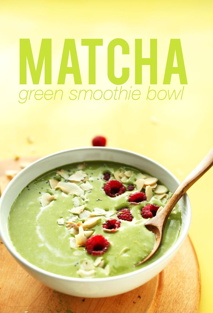 Ingredients SMOOTHIE      2 peeled, sliced and frozen ripe bananas (~120 g each)     optional: 1/4 cup (41 g) chopped ripe pineapple (frozen is best)     3/4 - 1 cup (180-240 ml) light coconut milk (canned or carton)     2 tsp matcha green tea powder (I like this brand)     1 heaping cup (35 g) organic spinach or kale (I like to freeze mine to make the smoothie colder!)  TOPPINGS optional      Fresh Berries     Coconut flake     Banana slices     Chia Seeds     Slivered roasted almonds