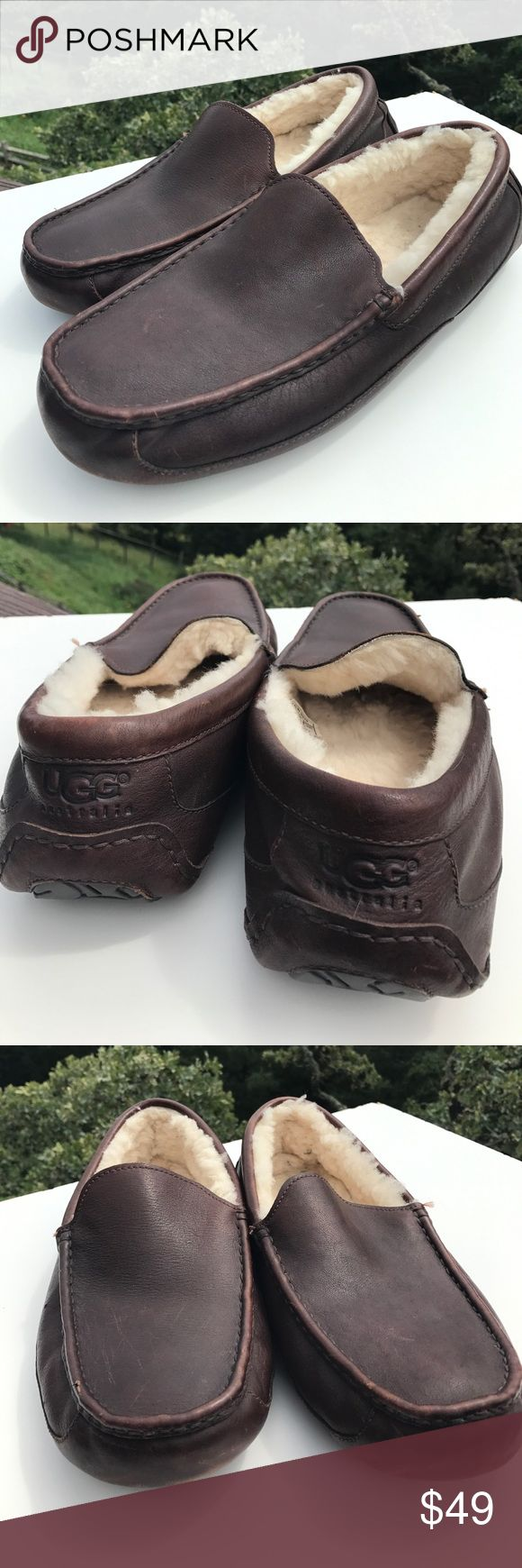 Ugg Ascot Mens Brown Leather Shearling Slippers 15 Model 5379.  Some scratches/nicks to leather - fade with leather cream. UGG Shoes Loafers & Slip-Ons