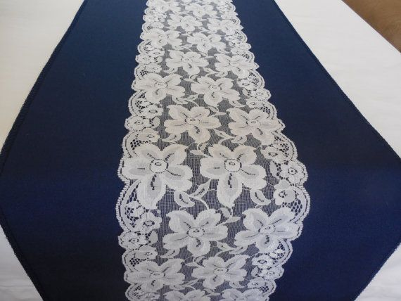 Wedding table runner navy blue and white lace by YourWeddingSupply