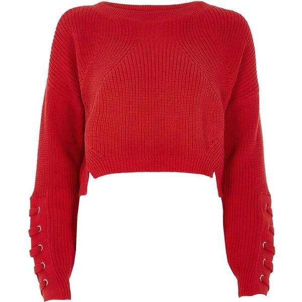 647518e491 River Island Red lace-up eyelet cropped sweater ( 68) ❤ liked on Polyvore  featuring tops