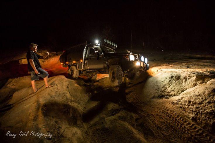 4x4 at night at the Mundaring Powerline Track, Western Australia.