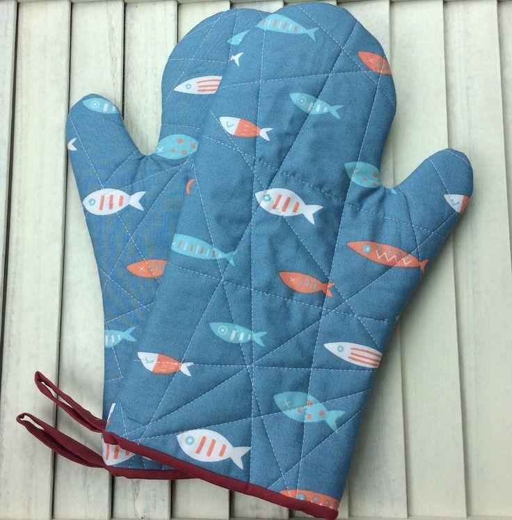 Oven Gloves, Oven Mitts, Heat Resistant Oven Gloves, Heat Resistant Oven Mitts, Fish Design, Pot Holders, Potholders, Blue Oven Gloves by DorsetPatchworks on Etsy