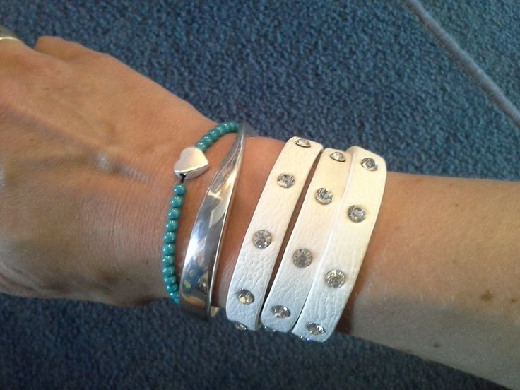 Stilen white cuff $35  twist bangle $35 and aqua  little heart bracelet $14