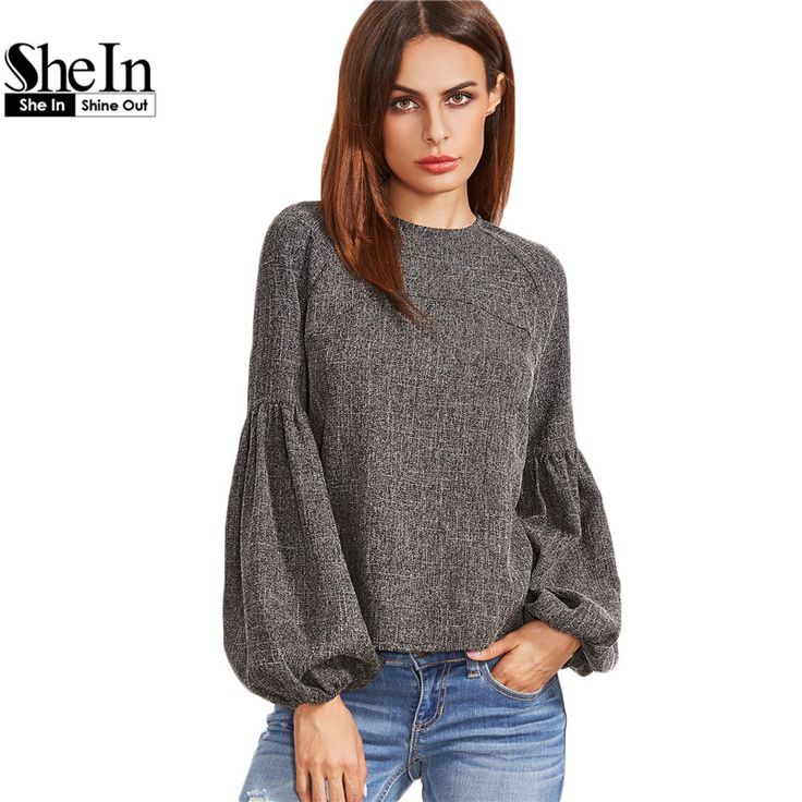 SheIn Women Tops and Blouses New Fashion Women Shirt Ladies Tops Grey Keyhole Back Lantern Sleeve Top Long Sleeve Blouse //Price: $33.94 & FREE Shipping //     }