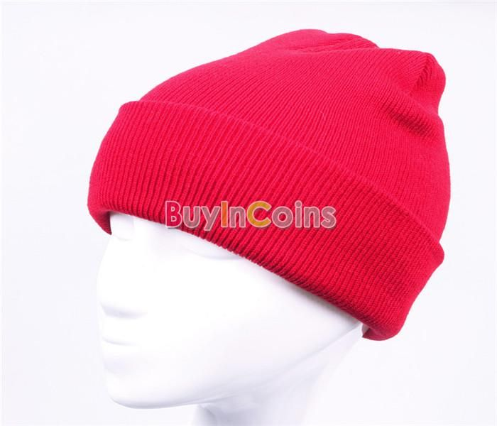 Unisex Solid Color Warm Plain Acrylic Knit Ski Beanie Skull Hat -- BuyinCoins.com