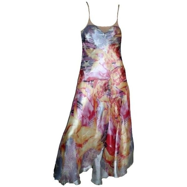Preowned Multicolor Alexander Mcqueen Cutout Open Back Dancer Dress... ($2,999) ❤ liked on Polyvore featuring dresses, beige, evening dresses, sexy cutout dress, sexy open back dresses, sexy dresses, beige dress and print dress