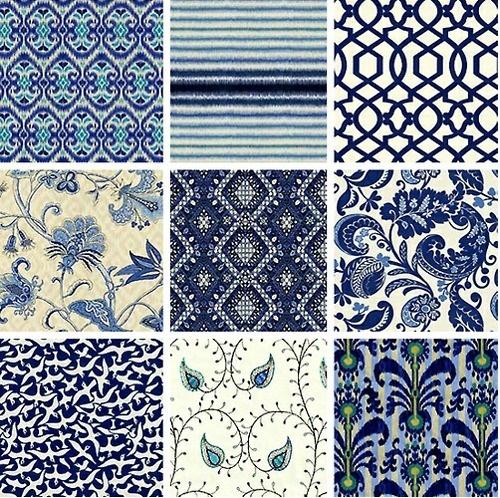 Indigo blue and white fabrics