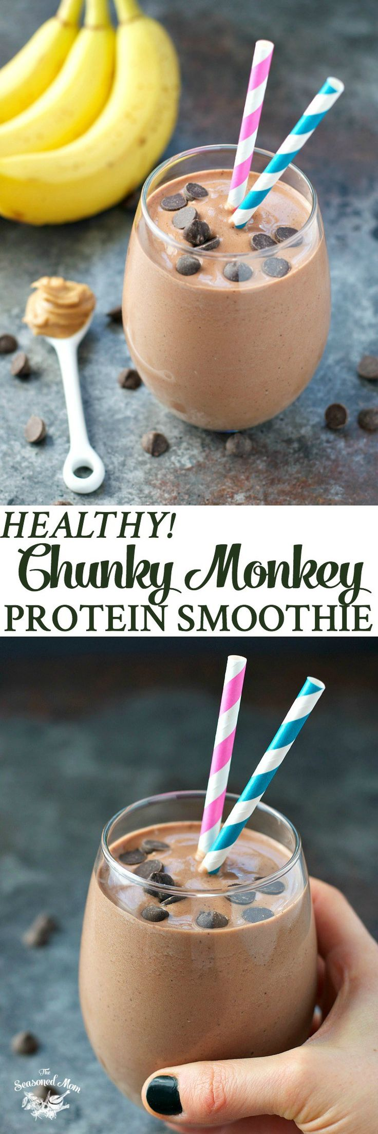 A healthy, high protein breakfast is less than 5 minutes away with this Chunky Monkey Protein Smoothie! Dairy-free, gluten-free, vegan, too!