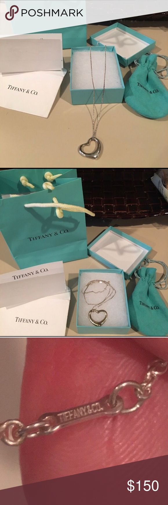 Tiffany and company heart necklace Authentic Medium heart necklace!! Perfect for summer just need a little polish to make it like awesome Tiffany & Co. Jewelry Necklaces