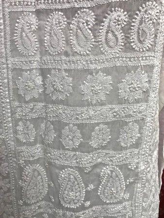 Lucknow Chikankari White Straight Indian KURTI Hand Made Ethnic Cotton TUNIC Kurta with beautiful Hand Embroidery - LONG TOP - WOMEN Collection
