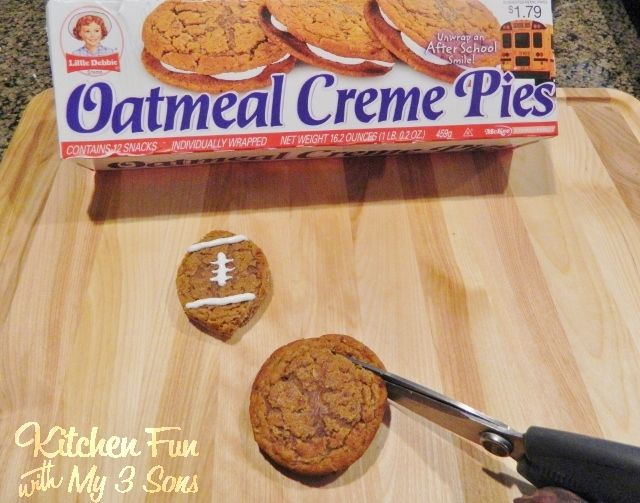 Shortcut Oatmeal Creme Football Pies. LACES OUT, in honor of Ray Finkle.