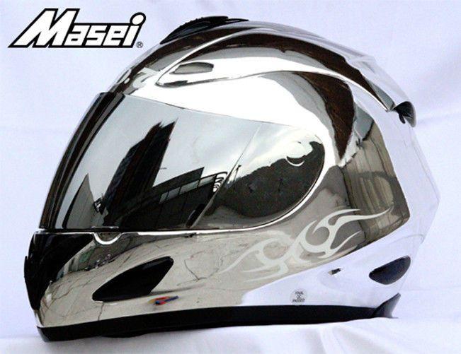 MASEI 802 DOT MOTORCYCLE HELMET CHROME SILVER JACK M L XL