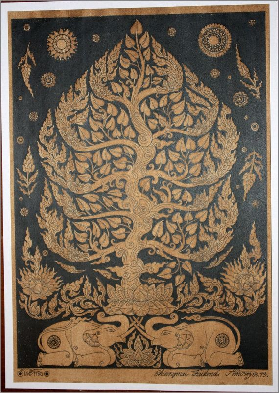Thai traditional art of Bodhi tree contortionist by AmornGallery, ฿150.00