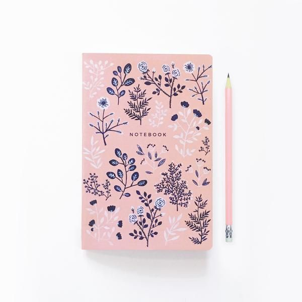 Pink and Navy Flowers - Dot Grid Notebook – Archer and Olive