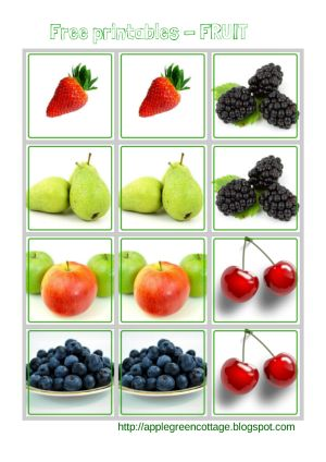 Free printables - fruit - The cards can be used as a memory game, for matching pairs, etc... It's up to you! For today, I only selected 6 pairs. On its own, it might be suitable as a kit for the youngest. But the 'Collection' will expand in the coming weeks and you can consider this to be your starter package.