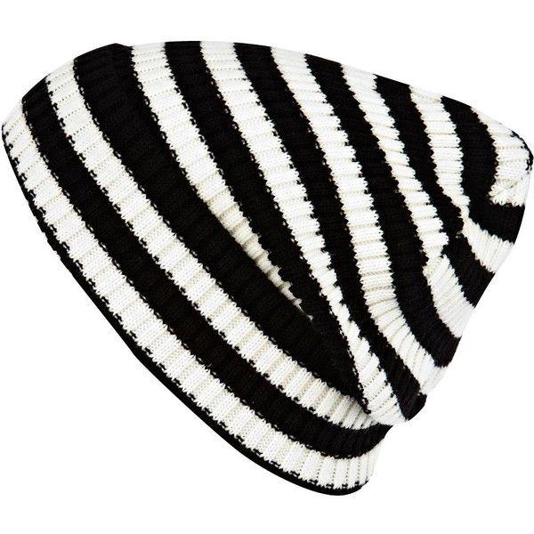 River Island Black and white stripe turn up beanie hat (26 DKK) found on Polyvore