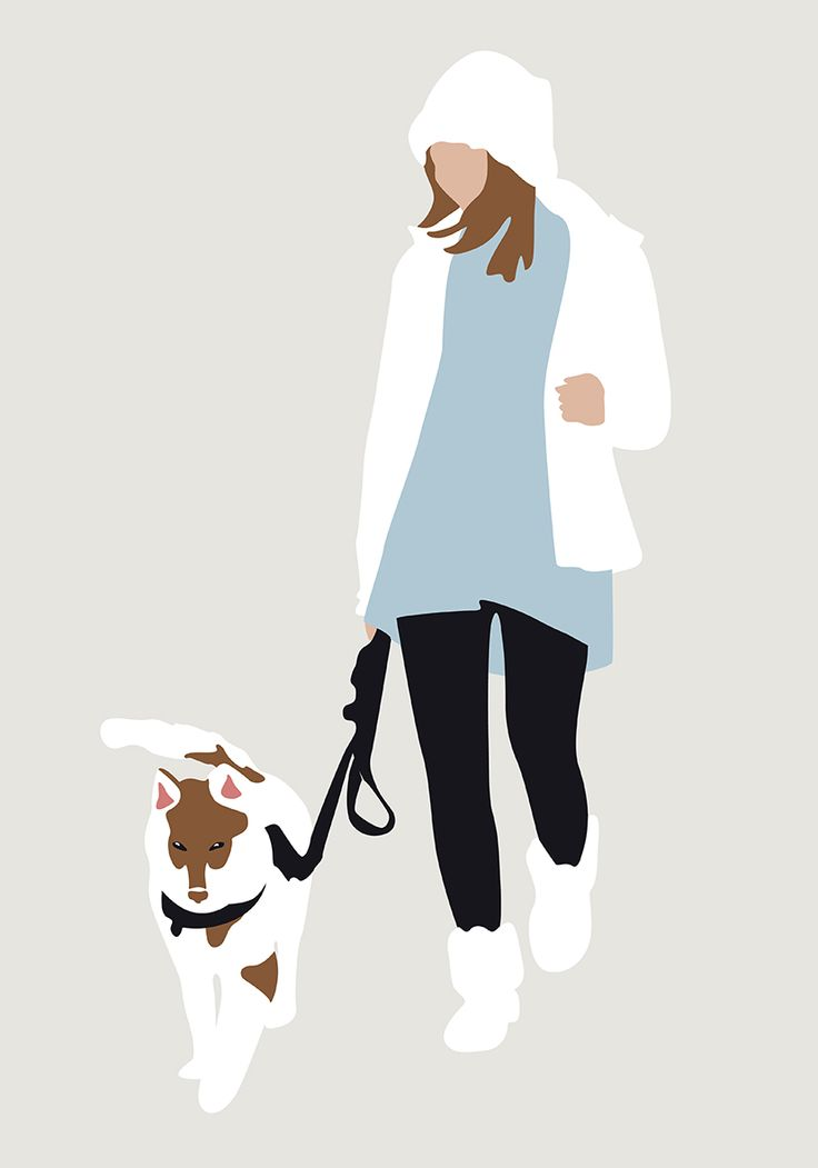 Vector Woman Walking with Dog