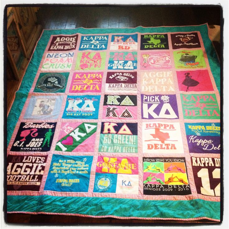 Tshirt quilt with border between squares. Looks cleaner and neater. The eye can rest.