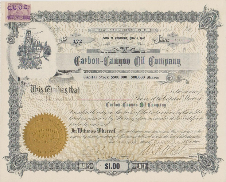 14 best Stock Certificates images on Pinterest Certificate - example of share certificate