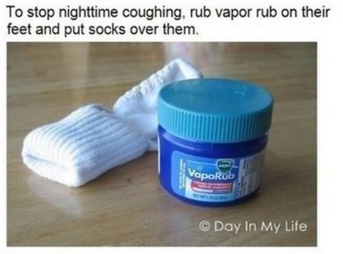 Is a runny nose or cough keeping your child up at night? Rub vaporub on their feet and follow up with warm socks. The perfect #mom hack to stop night time coughs. #flu #sick