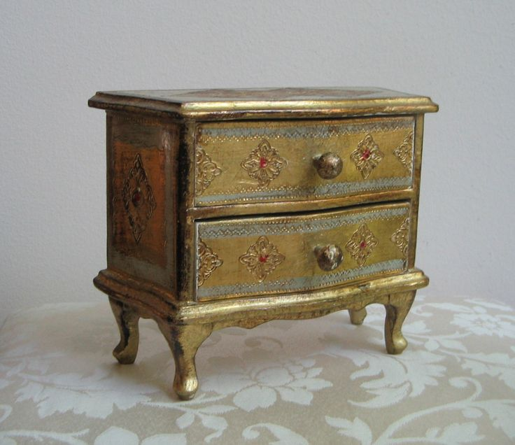 Vintage Ornate Jewelry Box Gold Ivory Red Florentine Tole