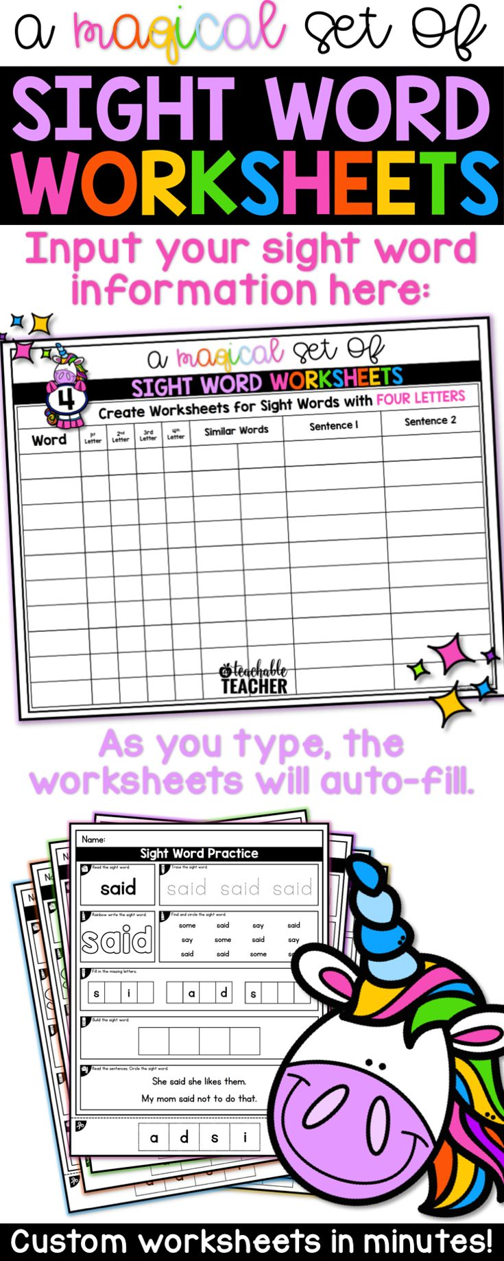 Editable sight word worksheets for kindergarten and first grade. Use these sight word printables with any word list. The pages are instantly generated when you type in your sight words...WOW!