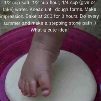 DIY baby footprint stepping stones