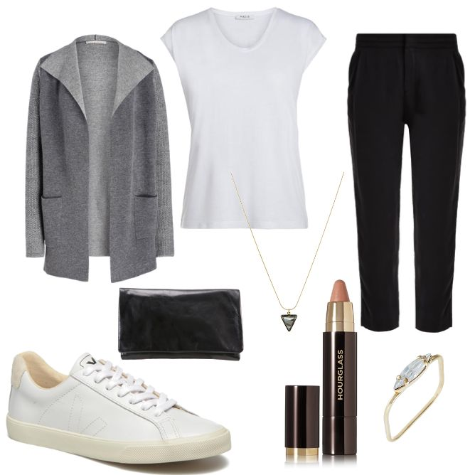 OneOutfitPerDay 2017-03-16 - #ootd #outfit #fashion #oneoutfitperday #fashionblogger #fashionbloggerde #frauenoutfit #herbstoutfit - Frauen Outfit Frühlings Outfit Outfit des Tages Abro Basic-T-Shirt BOSS Boss Orange Cardigan Clutch Feinstrick-Cardigan Halskette Hourglass lilienfels Lippenstift Pieces Ring Sabrina Sabrina Dehoff Schwarz Sneaker Stoffhose Strickhülle Strickjacke TomShot Veja weiss