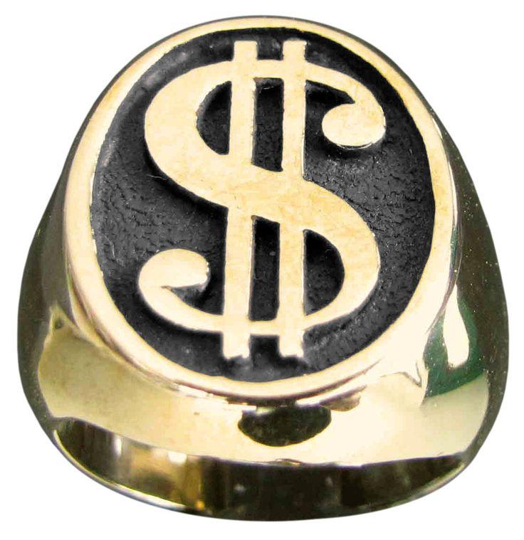 Mens Signet Dollar Sign Ring Money Symbol Greenback in Bronze