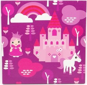 Pink Princess Castle Canvas Print 30cm square - $15.00. Available from http://www.wallartroad.com/small-art-pieces-under-15-00/ #wall #art #road #canvas