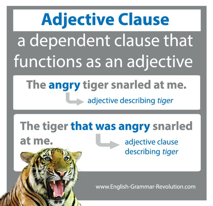 Adjective clauses (relative clauses) are a type of subordinate clause that act as adjectives. The whole clause does the job of an adjective!