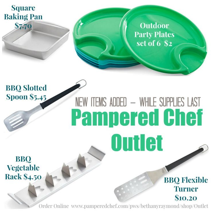 Great baking pans, bbq tools, picnic plates and more added to the Pampered Chef Outlet.  Shop Now!