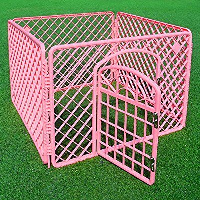 4-Panel (approx 24-inch Height) Indoor/Outdoor Plastic Dog Puppy Pet Fence Playpen Play and Exercise Pen Kennel Crate Cage, Pink_ SaveOnMany ®
