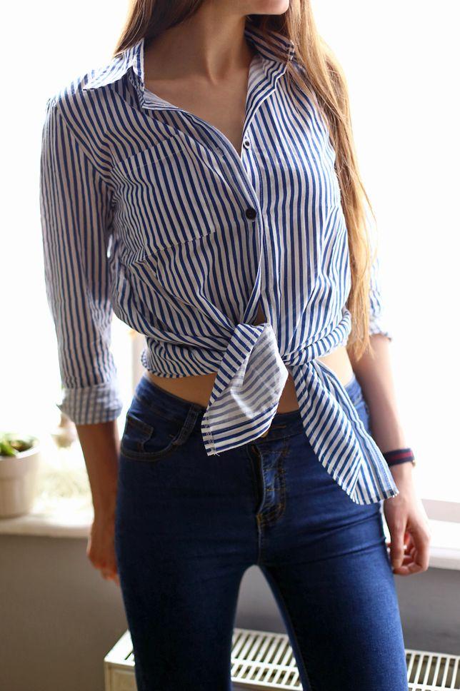 Damska Koszula W Paski Dopasowane Jeansowe Spodnie I Sznurowane Niebieskie Szpilki Ari Maj Personal Blog By Ariadna Majews Striped Top Women S Top Fashion