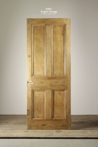Stripped Pine Four Panel Reclaimed Door
