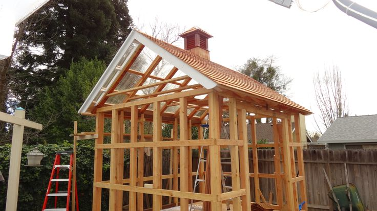 Roof is cedar shingles north side and clear and the south side. Cupola just because I could!