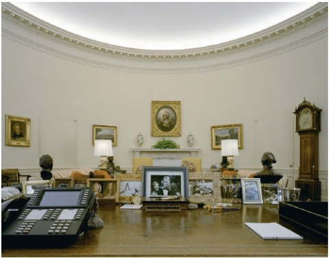 President Clintons view from behind the Resolute desk in the Oval