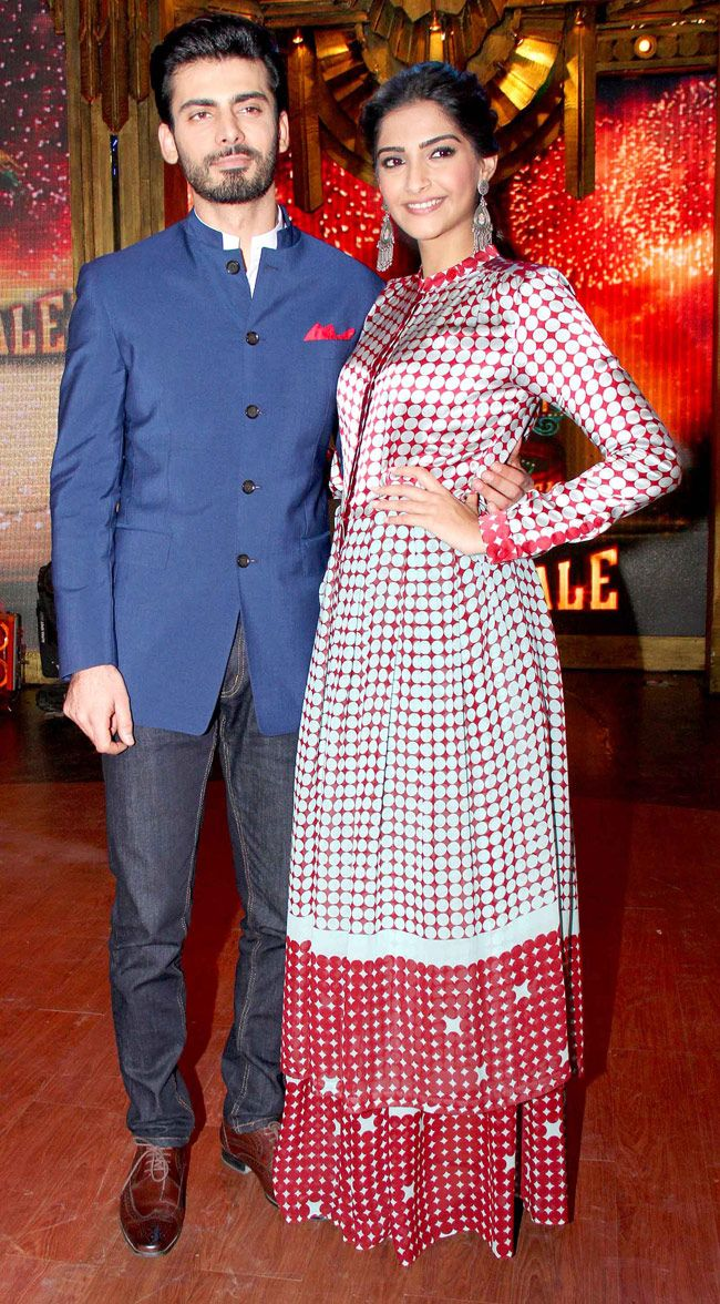 Sonam Kapoor with 'Khoobsurat' co-star and Fawad Afzal Khan on sets of 'Entertainment Ke Liye Kuch Bhi Karega'. #Style #Bollywood #Fashion #Beauty