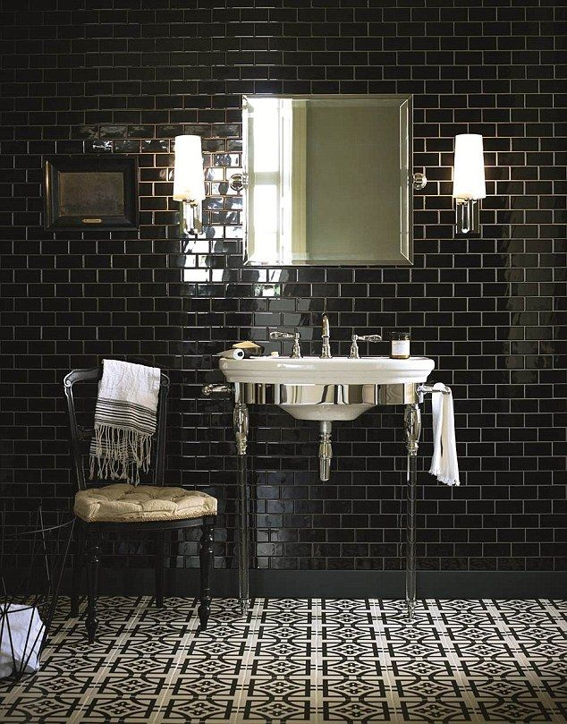 Barber shop style: Slick bathroom floor tiles (Abbey, Woburn) and metro wall tiles all by Fired Earth