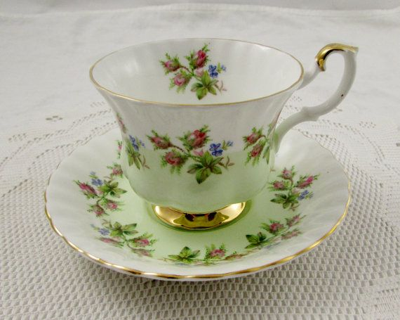 Royal Albert Pastel Green Tea Cup and Saucer with Pink Roses, Vintage Bone China