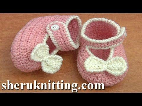 Crochet Button Buckle Bow Shoes Tutorial 37 Part 1 of 2 Zapatitos Para Bebe