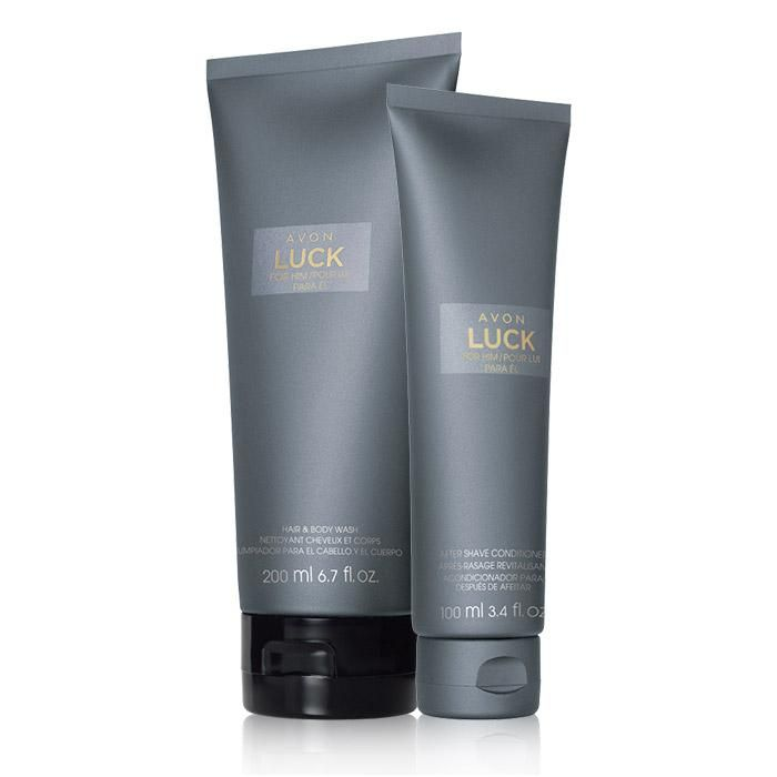Avon Luck For Him Duo. Fresh mandarin, cool spices and intoxicating woods. Valued at $20.00, the duo includes: Avon Luck for Him Hair & Body Wash and After Shave Conditioner.