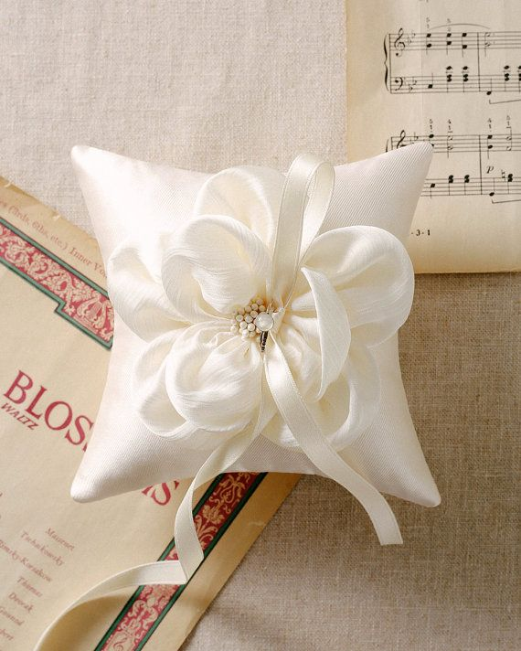 Ivory flower ring pillow champagne ring pillow by louloudimeli