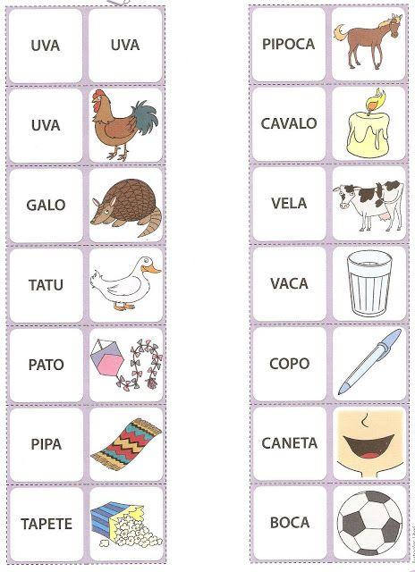 BLOG DA TIA JAQUE: Dominó de Palavras - Para Alfabetizar
