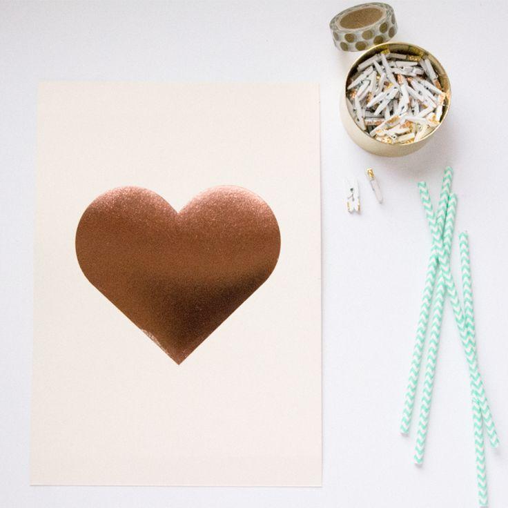 Copper foil heart print - blush | Gemma Milly