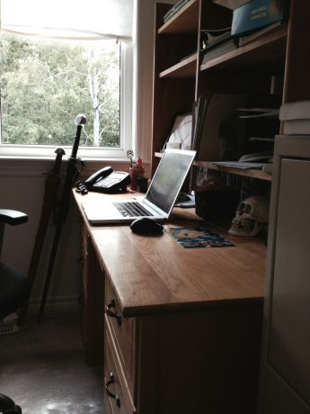 Leo Valiquette's office. Leo is an epic fantasy writer, and he fights writer's block through exercising and a healthy diet. Read Leo's awesome interview here: http://mmjayewrites.com/2014/08/24/leo-valiquette-wip-interview/