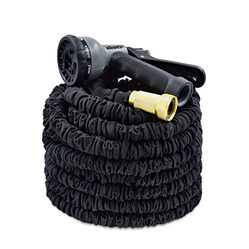 IBeaty Lightweight Expandable Garden Hose Magic Flexible Water Hose With  Solid Brass Ends 8 Position Spray Nozzle Black